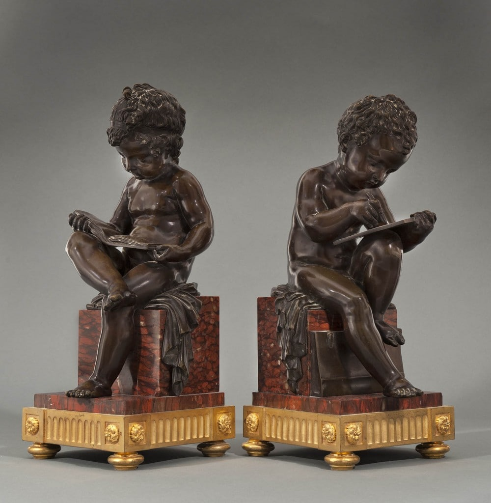 A PAIR OF FRENCH ORMOLU FIGURES OF CHILDREN ('L'ENFANT LISANT'), Jean-Baptiste Pigalle, Late 19th Century