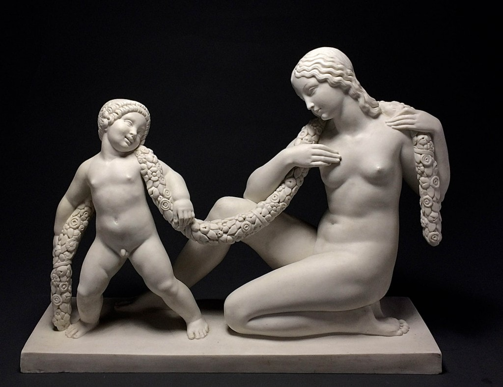 'LA CHAÎNE' A Very Fine and Rare Sevres Sculpture of Venus Captured by Amor, JOSEPH J. EMMANUEL (DESCOMBS) CORMIER, 1930'S
