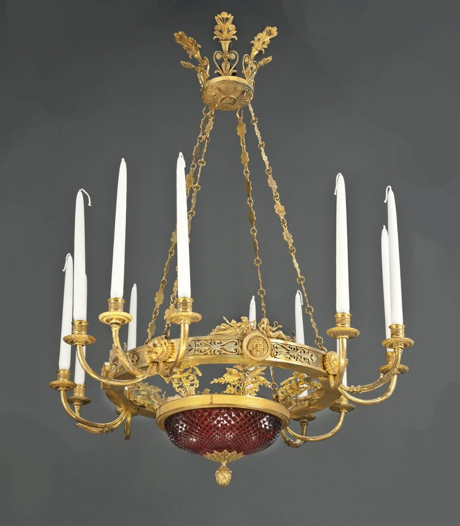 A MATCHED PAIR OF IMPORTANT AND RARE, RUSSIAN EMPIRE CHANDELIERS BY ANDREI SCHREIBER, Attributed to Andrei Schreiber, Circa 1800