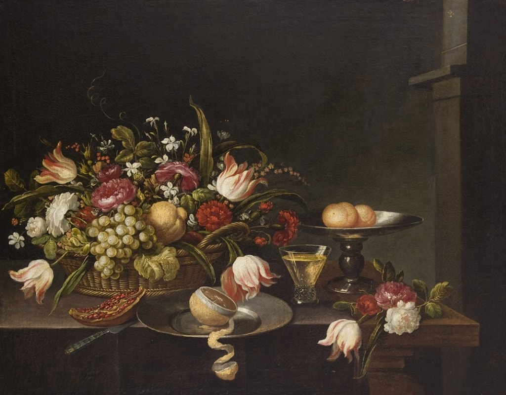 A PAINTING OF FLOWERS AND FRUITS, LOMBARDIAN SCHOOL, ITALY, 18th Century