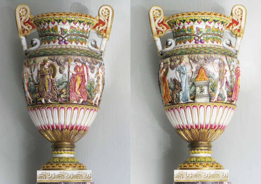 A PAIR OF RARE, PALACE SIZE CAPODIMONTE VASES ATHENIAN VASES Porcelain, gilded bronze Capodimonte, Italy Mid-Late 19th Century