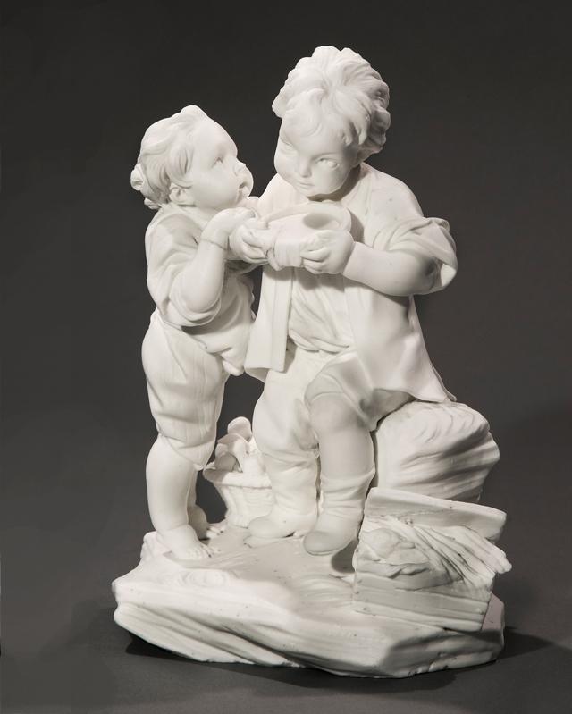A Bisque Figure Group: Les Enfants Buveurs de Lait Porcelain Boizot/Sevres 18th Century
