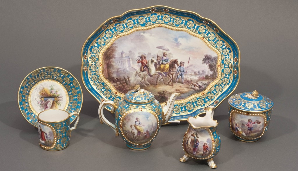 Sevres 'Jeweled' Turquoise-Ground Dejeuner, Sèvres, France, 18th Century