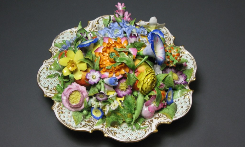 Trompe l'Oeil Scroll-Footed Dishes Filled with Flowers Porcelain Minton Circa 1825-1835