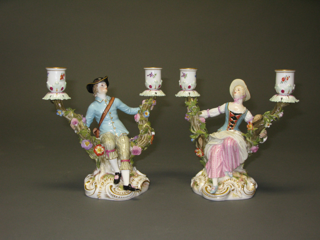 A PAIR OF FIGURAL TWO-LIGHT CANDELABRA Meissen Late 19th century