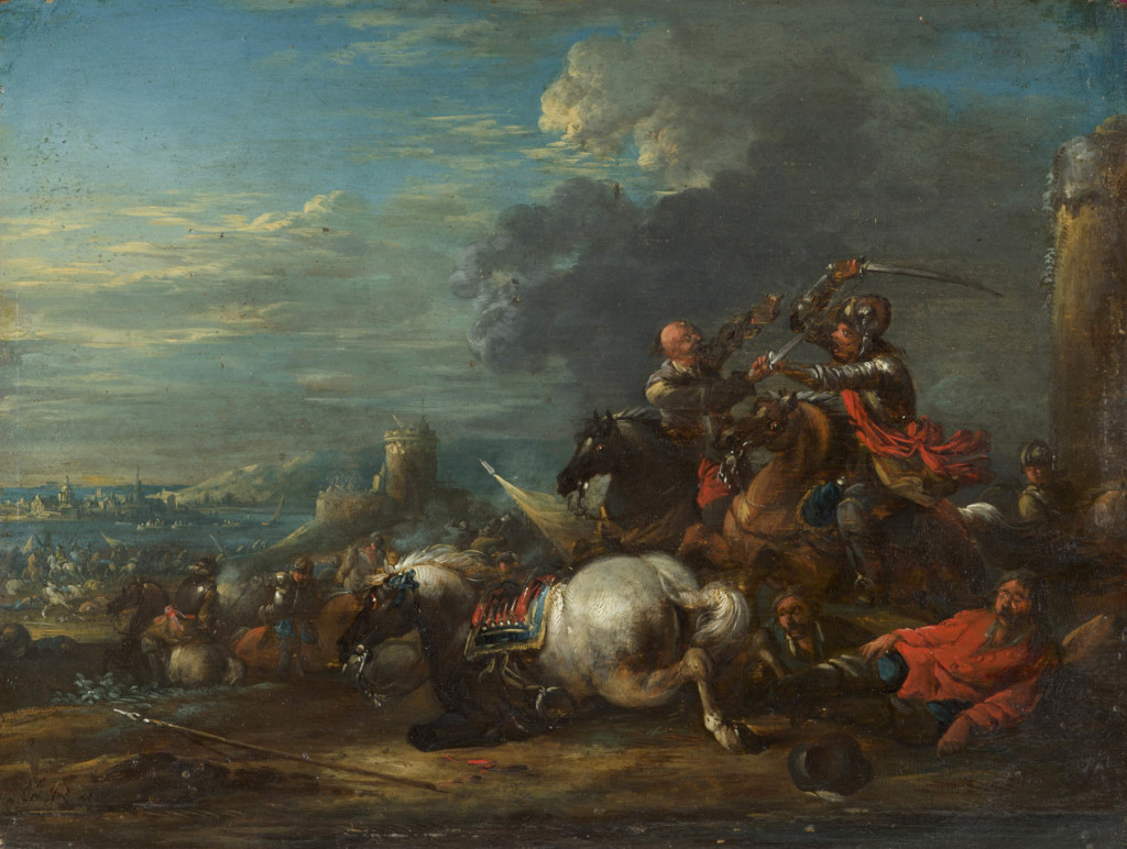 A CAVALRY SKIRMISH Arnold Frans Rubens Antwerp Circa 1710