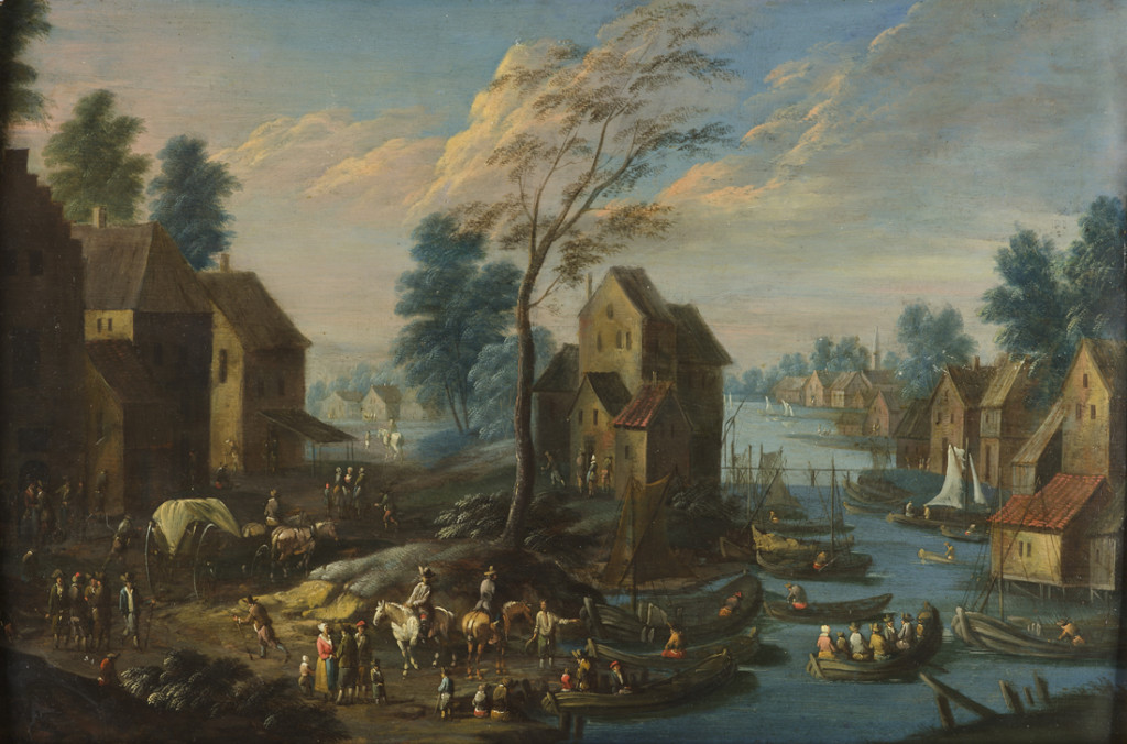 HORSEMEN AND BOATS IN A VILLAGE BY A RIVER Marc Baets Antwerp, active early 18th century