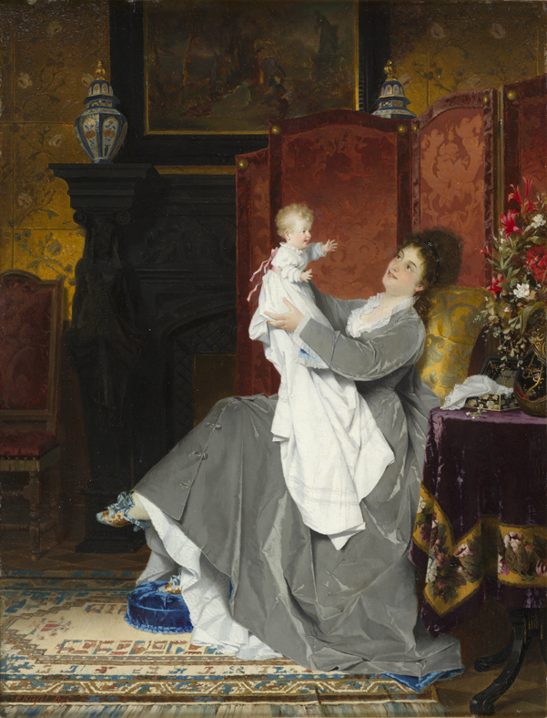 PLAYING WITH BABY Conrad Kiesel 19th Century