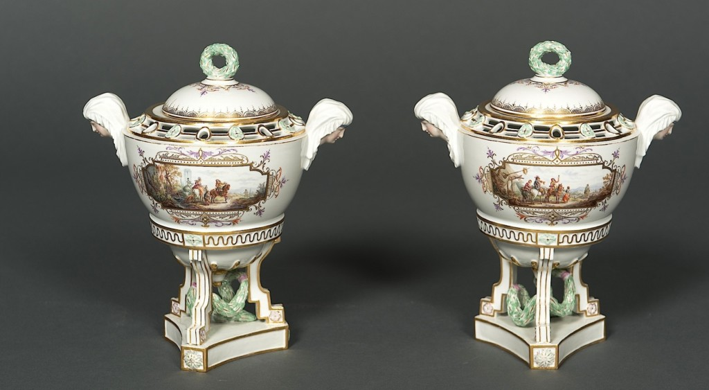 "EARLY AND RARE PAIR OF ""SPHINX"" VASES-CENSERS Meissen Circa 1815-1860"