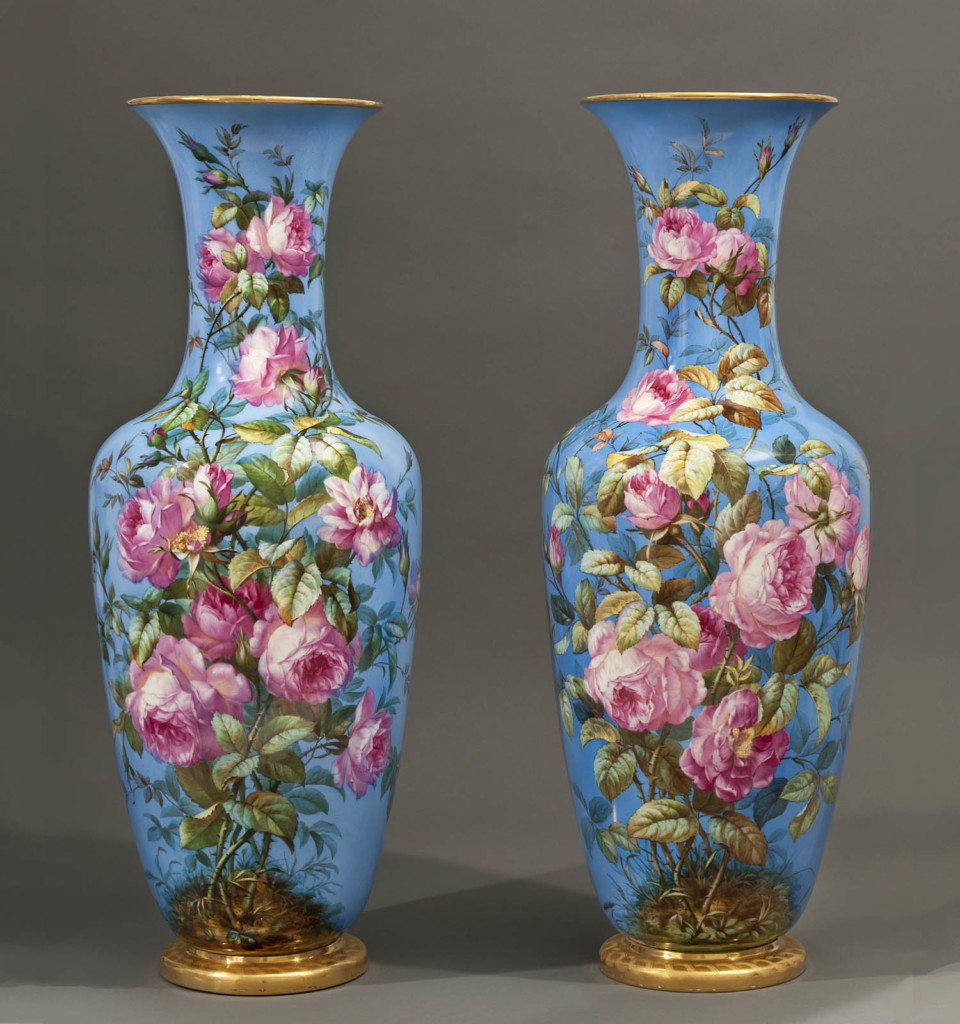 A PAIR OF BERLIN BLUE-GROUND PORCELAIN VASES K.P.M., Germany Second half of 19th century