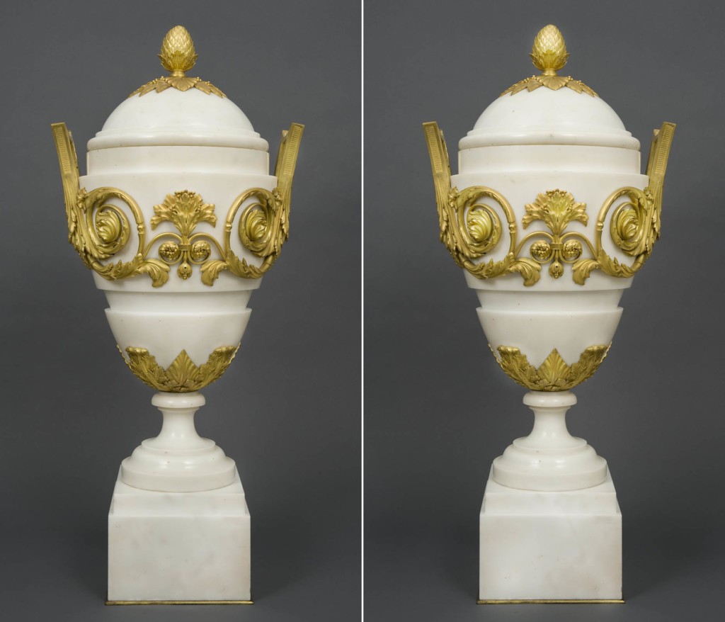 A PAIR OF FRENCH ORMOLU AND WHITE MARBLE VASES AND COVERS Maison Marnyhac, Paris Last quarter 19th century