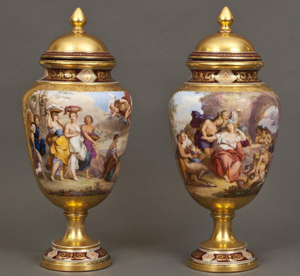 An Impressive Pair Of Royal Vienna Vases: Mercury Persuing Herse And Bachus Paying Homage To Ariadne Royal Vienna, Austria Second half of 19th Century