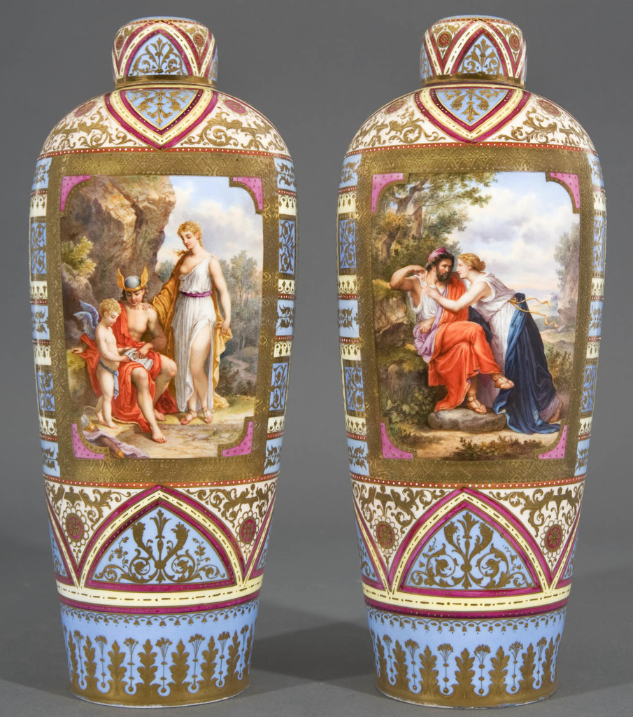 A Pair Of Rare Skyblue Ground Vases And Covers Royal Vienna, Austria Second half of 19th Century