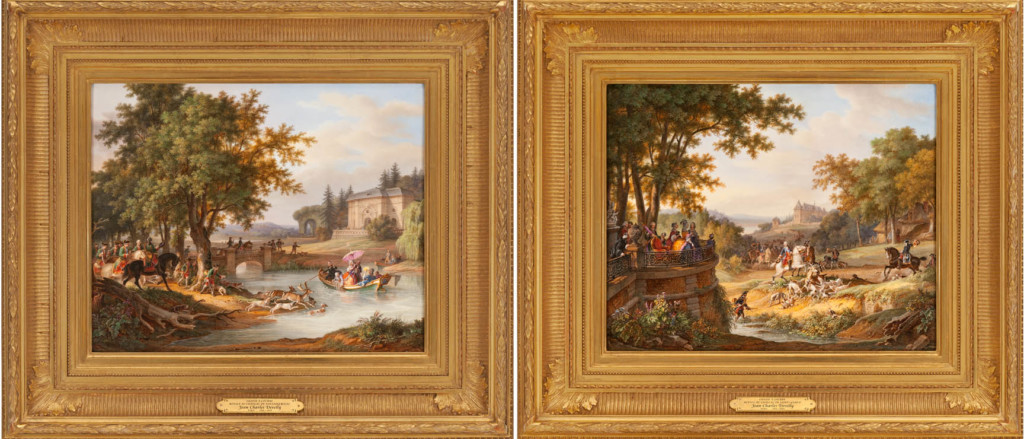 Very Fine And Highly Important Pair Of French Porcelain Plaques Depicting Royal Hunting Party Jean Charles Develly 1844