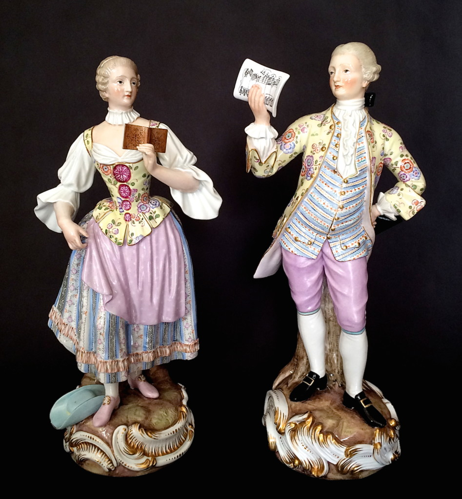 "Meissen Pair Of Large Figures ""Music Lesson"" Circa 1850-1860"