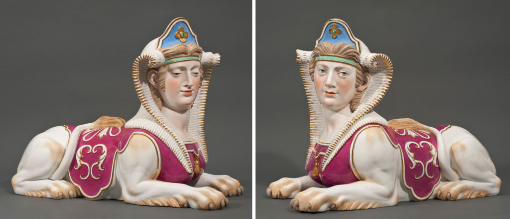 A Very Rare, Large and Impressive Pair of Porcelain Sculptures of Sphinxes Meissen Circa 1855-1865