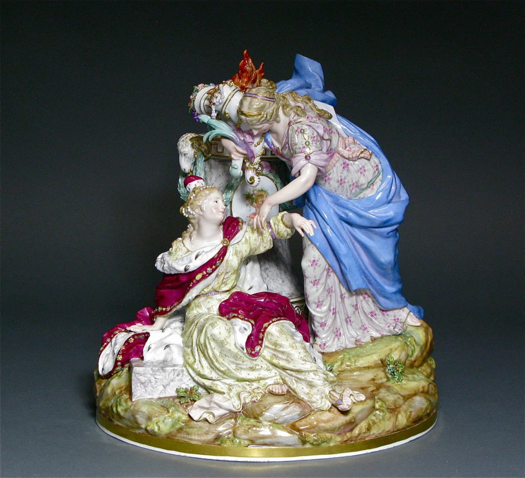 Europe Receiving Her Blessings from the Peace Meissen Mid 19th Century