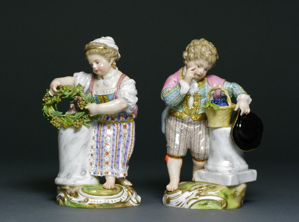 Two Meissen Figures: Boy and Girl with Grapevine 19th Century