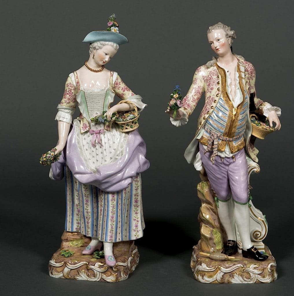 Elegant Couple Tending to the Garden Meissen Mid-19th Century