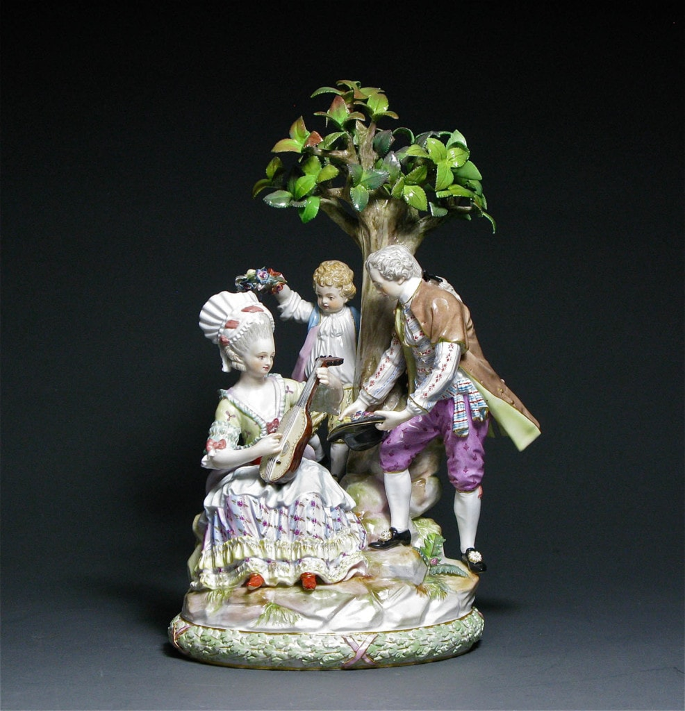 A Pastoral Figure Group 'Under the Tree' Meissen 19th Century