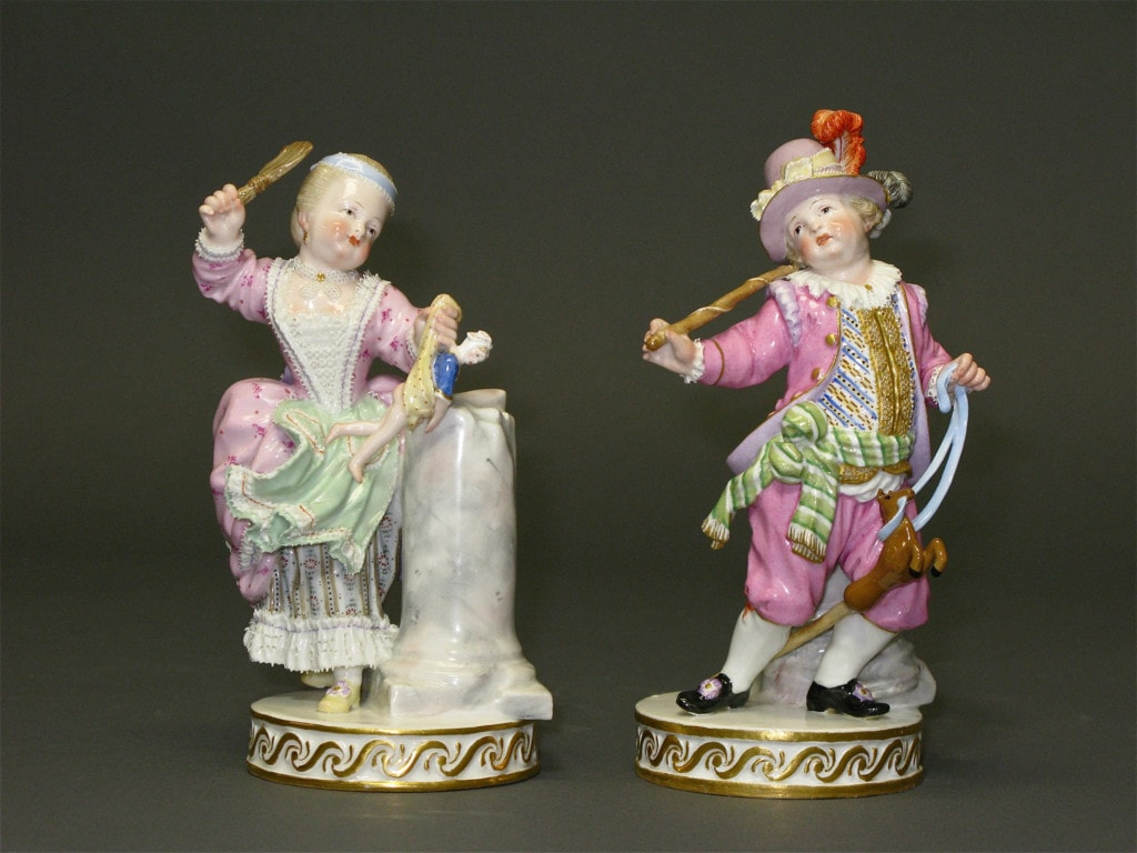 Two Figures: a Boy and a Girl Playing Meissen 19th Century