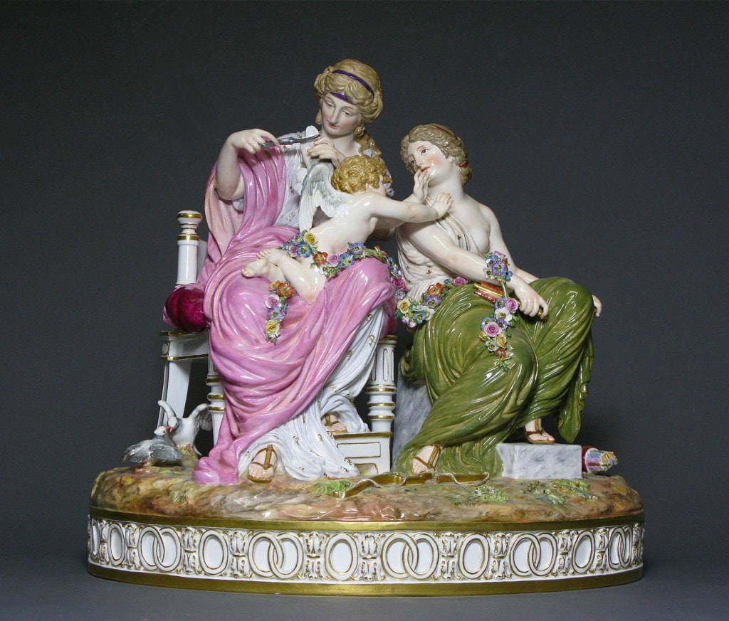 A Meissen Figure Group: Cupid in Trouble Meissen Mid - Late 19th Century