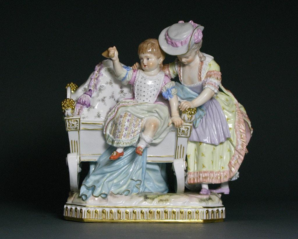 A Figure Group: Amusement de l'Enfance Meissen 19th Century