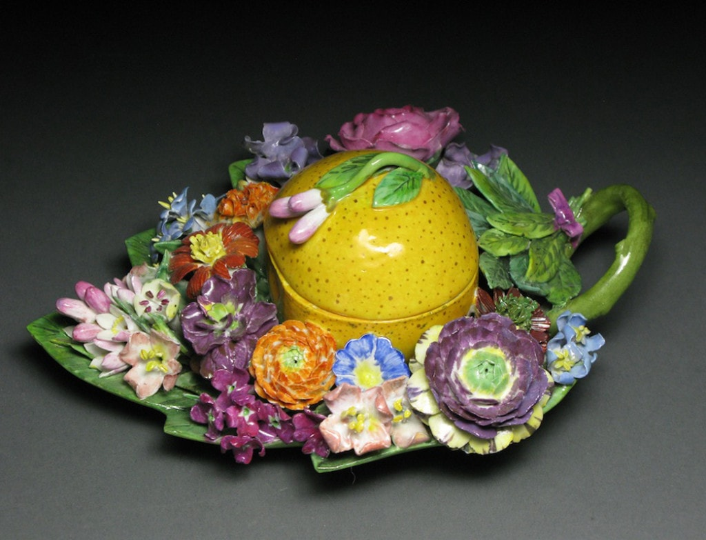 A Meissen Fruit-Shaped Box with Flowers: Orange Mid - Late 19th Century