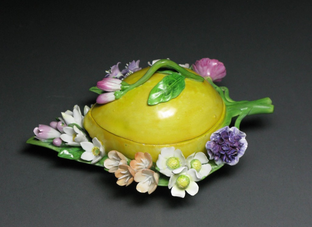 A Meissen Fruit-Shaped Box with Flowers: Lemon Mid - Late 19th Century
