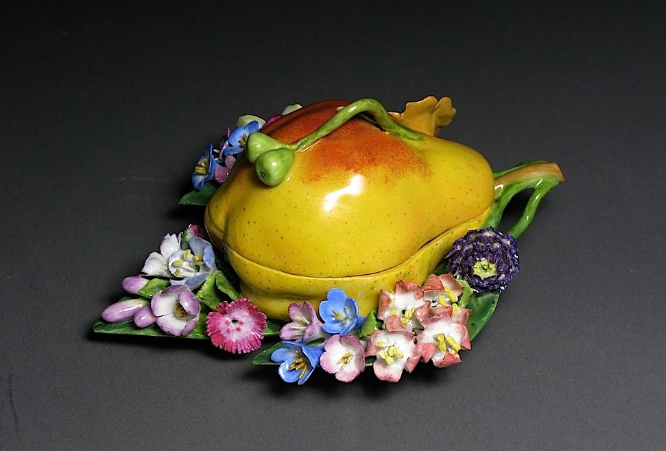 A Meissen Fruit-Shaped Box with Flowers: Pear Mid - Late 19th Century