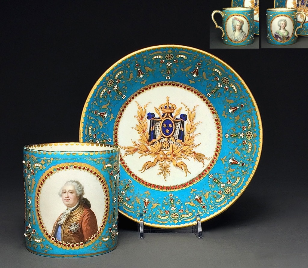 Sevres Three Portraits Turquoise Ground Gilded and Enameled Set of Cup and Saucer
