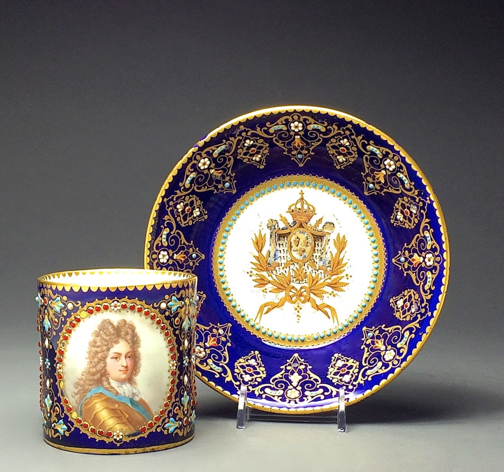 Sevres Three Portraits Royal Blue Ground Gilded and Enameled Set of Cup and Saucer Second Half 19th Century