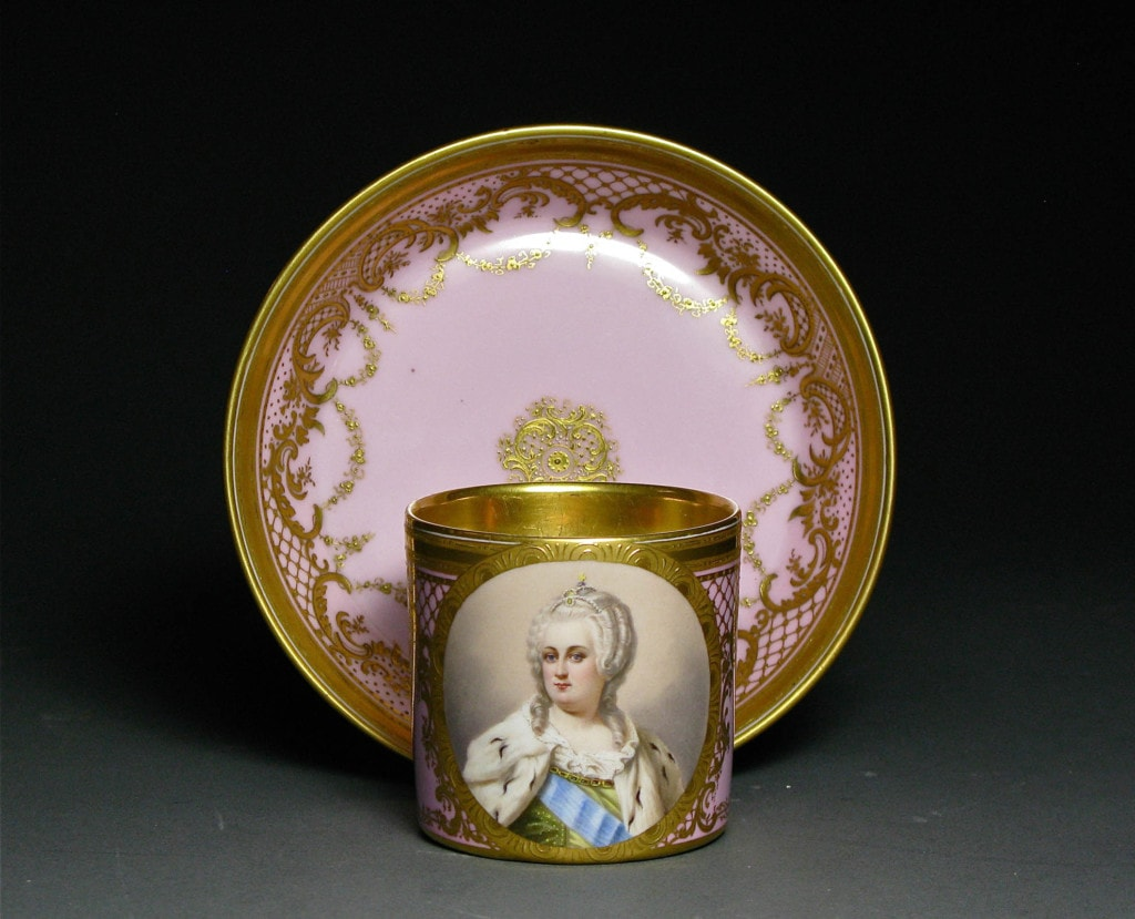 Cup and Saucer with a portrait of Catherine the Great Royal Vienna 19th Century